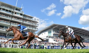 Masar crosses the finish line ahead of Dee Ex Bee to win the Derby