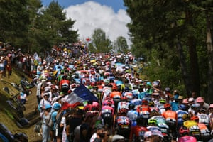 The pack rides during the ninth stage of the 106th edition of the Tour de France between Saint-Étienne and Brioude.