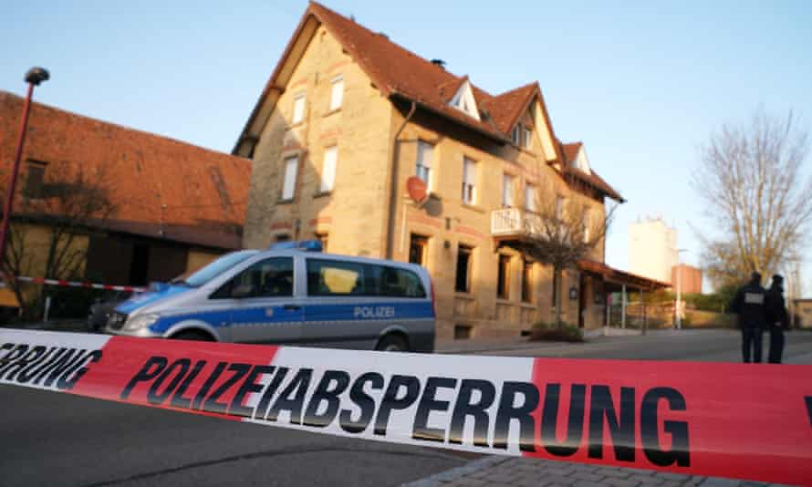Police tape at the scene of a shooting that left six dead on January 24, 2020, in Rot am See near Crailsheim, Germany.