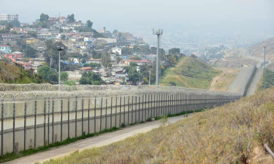 The US-Mexico border security fence across from the Mexican city of Tijuana.