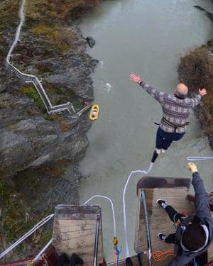 John Kirkaldy bungee jumping at Kawarau Gorge in New Zealand