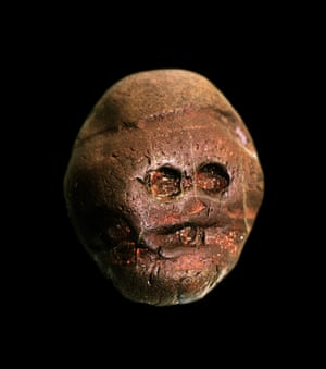 The earliest recorded human made artistic object: a pebble resembling a human face, from Makapansgat, South Africa, ca. 3,000,000 BC.