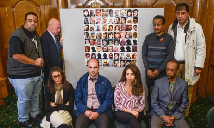 Survivors and family members of people involved in the Grenfell fire, (L-R), Nabil Choucair, El Alami Hamdan, Flora Neda, Hamid Al Jafari, Nazanin Aghlani, Shemsu Kedir, Paulos Tekle and Shah Aghlani.