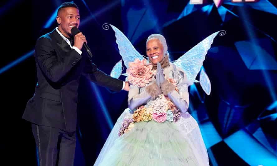 Dionne Warwick with host Nick Cannon on series four of the US version of The Masked Singer.