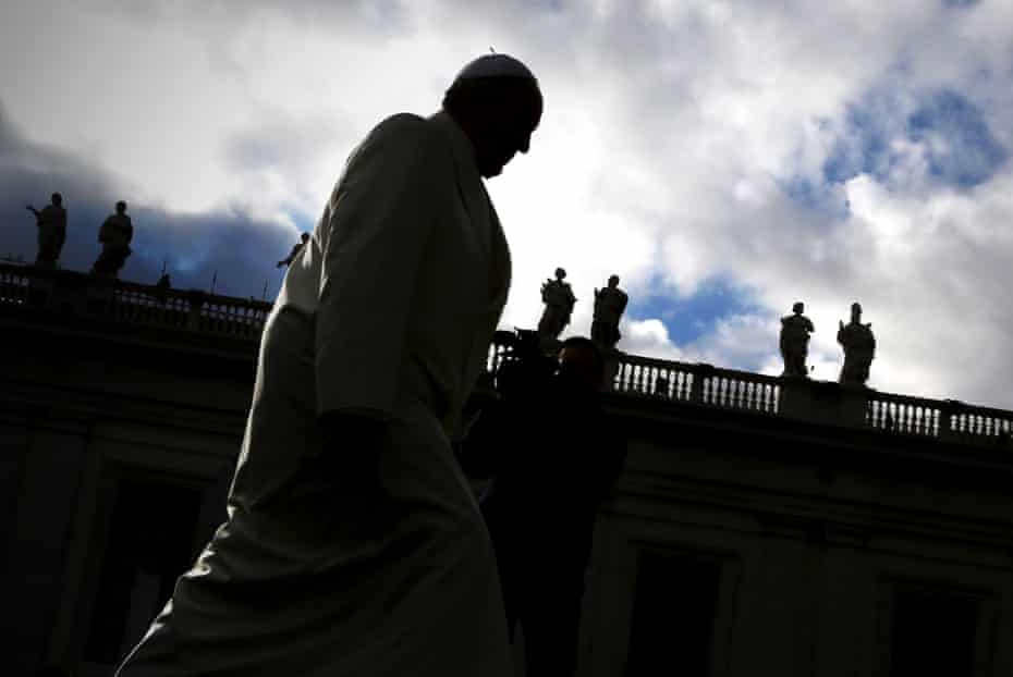 Pope Francis arrives in St. Peter's square for his weekly audience