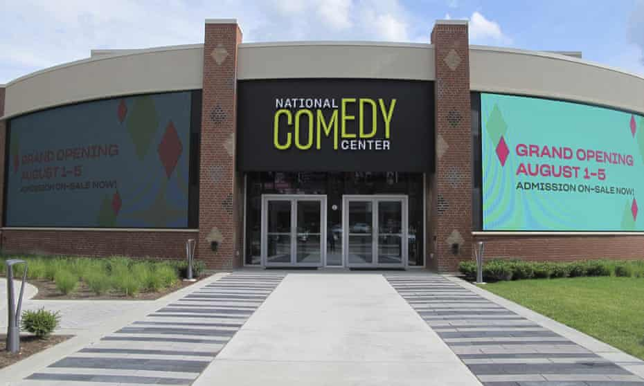 The main entrance to the National Comedy Center in Jamestown, N.Y.