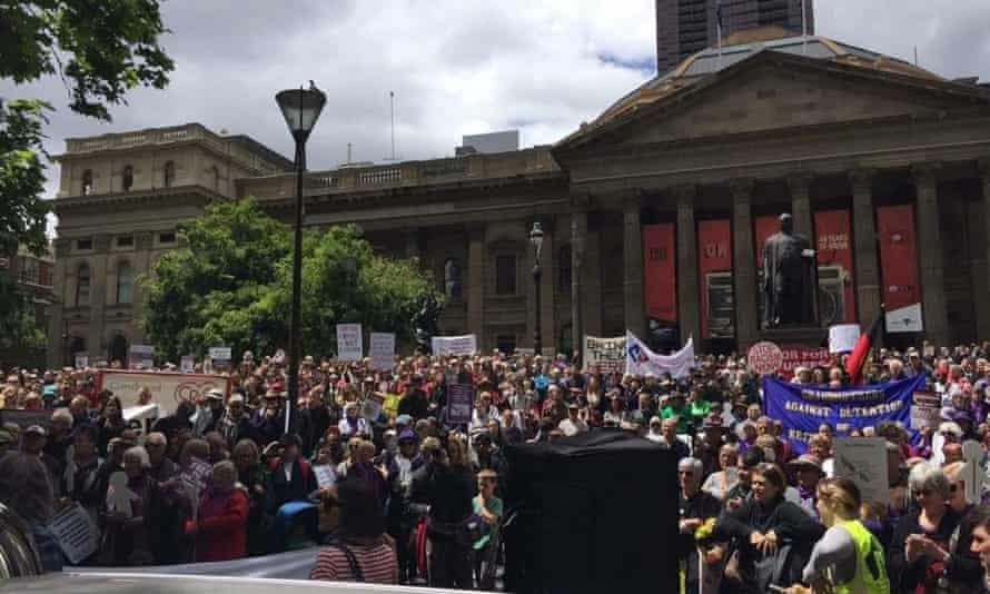 A rally in Melbourne last month calling for an end to offshore and indefinite detention and improvements to healthcare provided to refugees and asylum seekers.