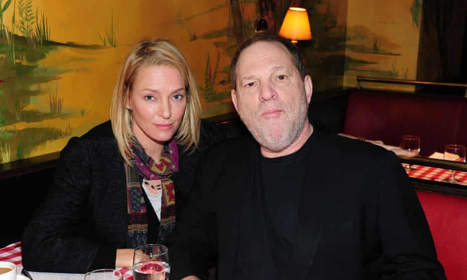Uma Thurman and Harvey Weinstein attend a promotional brunch for Quentin Tarantino's The Hateful Eight in New York City in January 2016.