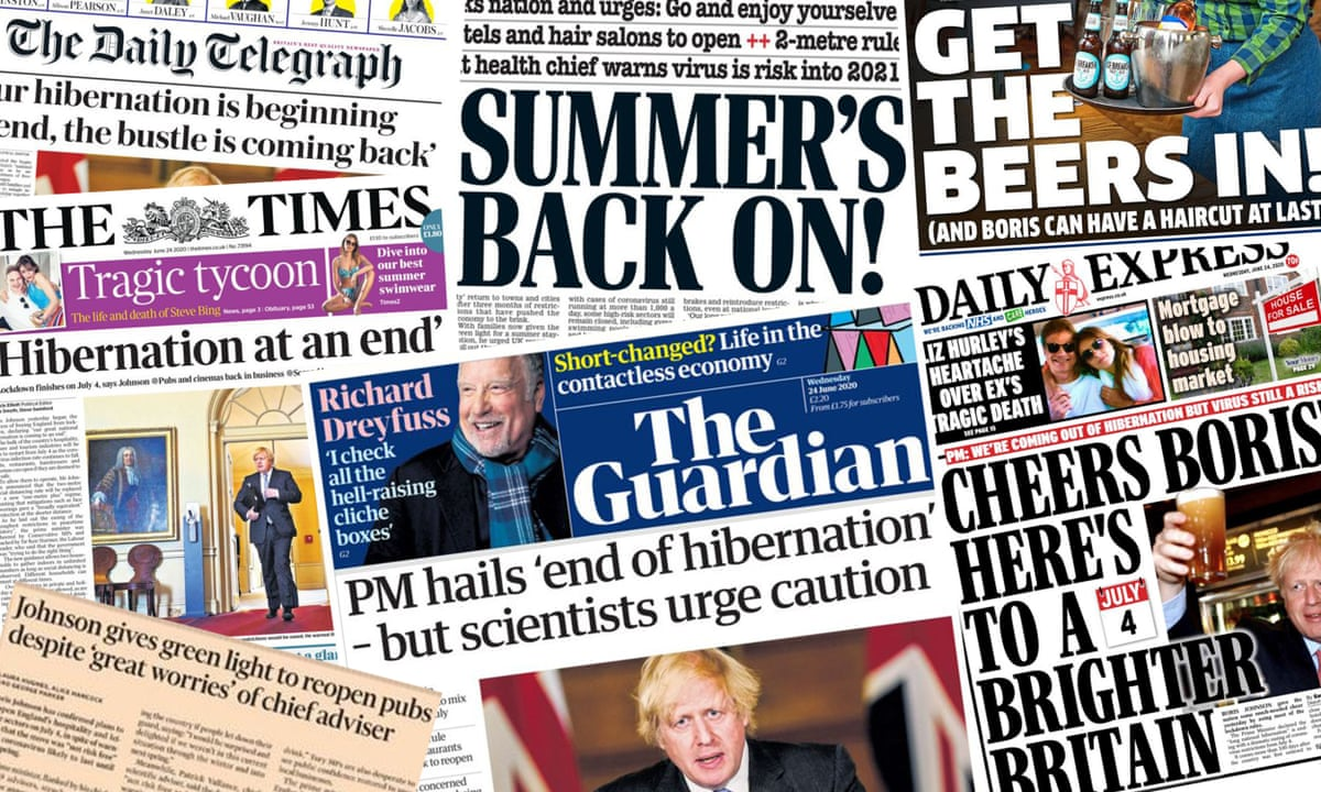 End Of Hibernation What The Papers Say About England S Lockdown Easing Media The Guardian