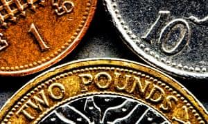 UK coins close up