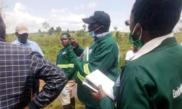 The National Environment Management Authority team carrying out an environment impact assessment at Bugoma Forest with representatives of Hoima Sugar and the national forest authority.