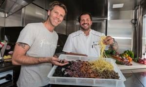Prince Emanuele and chef Mirko Paderno inside the Prince of Venice.