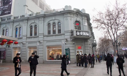 An H&M Store on Harbin's Central Avenue, the longest pedestrian street in China.