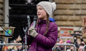Greta Thunberg gives a speech during a demonstration of students calling for climate protection in Germany on 1 March.