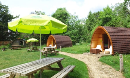 "Budget-friendly glamping is in three camping pods and two caravan-like ""land pods"""