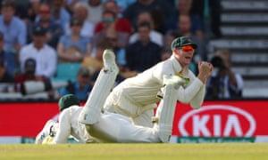 Steve Smith of Australia catches the ball to dismiss Jonny Bairstow of England.