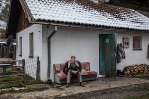 Muja, 75, a resident of Jezevac refugee camp, photographed in front of his apartment. Together with his family was transferred to the Jezevac refugee camp in 1997.