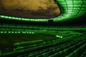 Mineirão stadium is lit in green in Belo Horizonte, Brazil