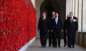 14 November 2014: Tony Abbott tours the Australian War Memorial in Canberra with British PM David Cameron. After the G20 meeting in Brisbane, five leaders were invited as official guests of the Australian government: François Hollande of France, Xi Jinping of China, Angela Merkel of Germany, David Cameron of Britain and Narendra Modi of India.