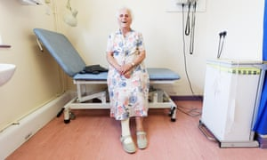 Patient Betty Castle at the Welsh Wound Innovation Centre at St Woolos hospital in Newport, Wales.