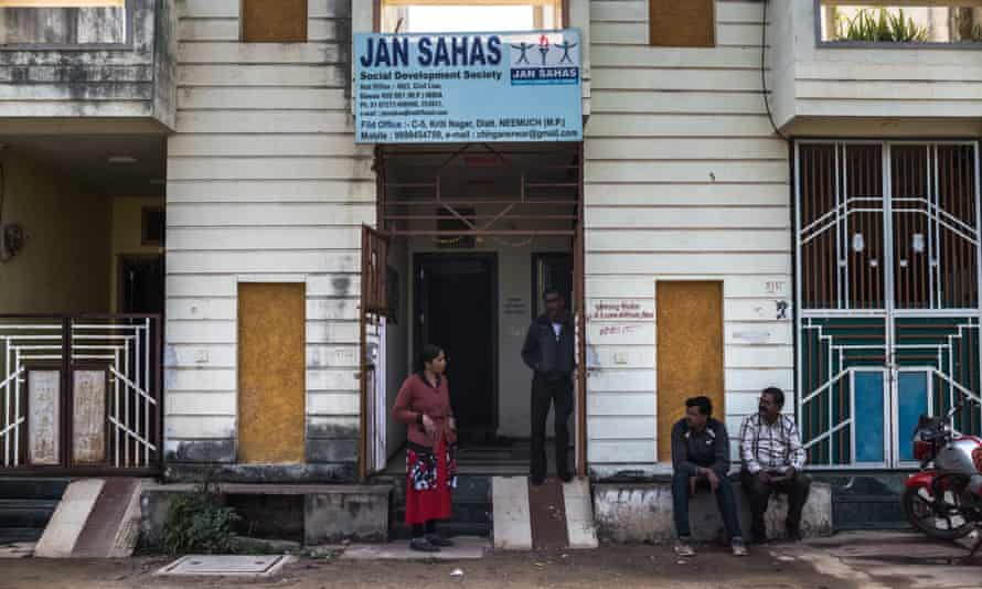 Workers outside the office of advocacy group Jan Sahas in Dewas