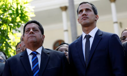 Juan Guaidó and Edgar Zambrano, left, in Caracas, Venezuela, on 5 January. Zambrano was seized by intelligence agents on Wednesday night.