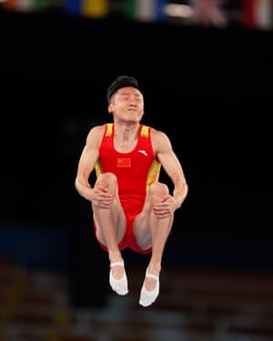Dong Dong of China competes in the men's trampoline final at the Tokyo Olympic Games.