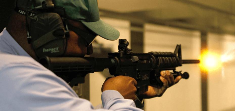 A National African American Gun Association member at target practice.
