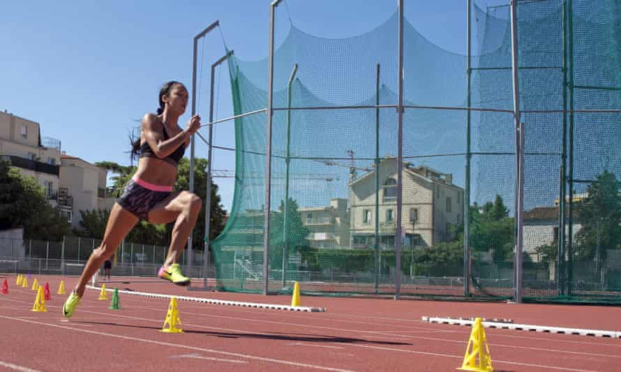 Katarina Johnson-Thompson keeps busy during a training session at the track in Montpellier, her new base for operations.