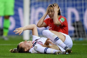 Caroline Graham Hansen goes down in the box after being fouled by Chaerim Kang.