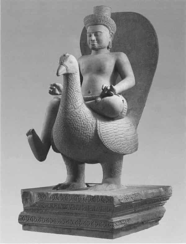 Skanda on a Peacock, a 10th century Cambodian statue