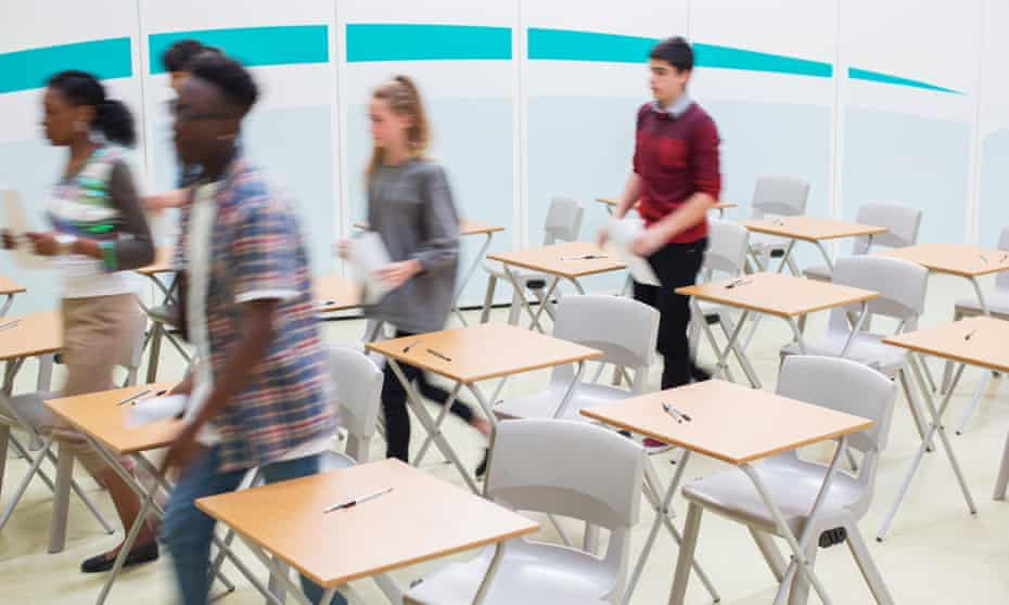 Sixth formers leaving a class
