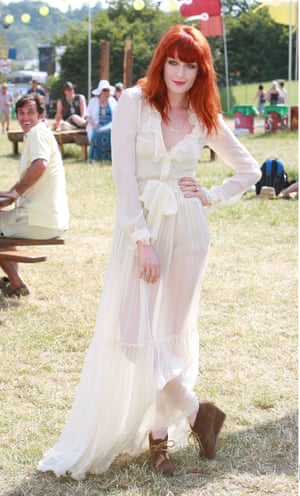 Thanks to her floaty frocks, Florence Welch is regularly called the queen of boho style. Here she is at Glastonbury in 2010.