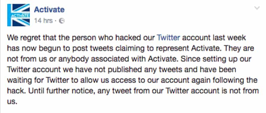 Activate Facebook post claiming their Twitter has been hacked
