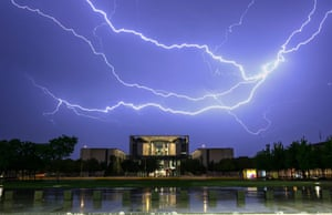 Berlin, Germany: A long exposure photograph shows lightning over the Chancellery building