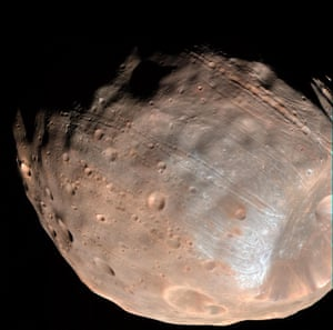 The 10km-wide Stickney crater is the result of a massive impact in the moon's past. The collision will have damaged material around the crater and potentially have weakened Phobos.