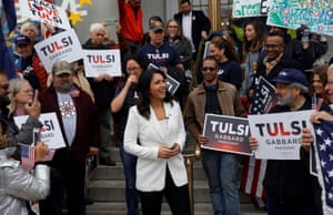 Tulsi Gabbard greets supporters in Concord, New Hampshire, on 5 November.