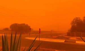 The sky turns orange from dust storms caused by bushfires in Mildura in Victoria.