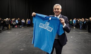 The Brexit secretary, Stephen Barclay, at the Conservatives' election launch in Birmingham.