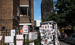 Tributes are left near Grenfell Tower.