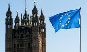 An EU flag outside the Palace of Westminster