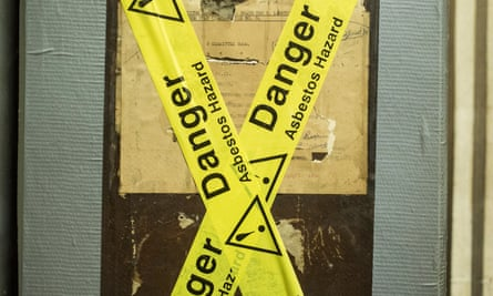 A 'Danger Asbestos hazard' sign at the Houses of Parliament