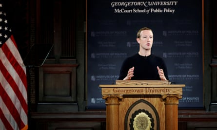 'In a speech at Georgetown University, Zuckerberg presented a defense of Facebook that relied on defining the social media platform as a tool that gives people a voice.'