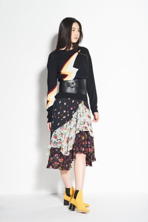 THE COVER-UP  Add a motif jumper to transform your dress to a tiered skirt Jumper £230, zadig-et-voltaire.com  Belt £17.99, and boots £69.99, both zara.com  Dress as before