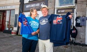 Karen Murphy and Bill Scoles work in the Mayflower 400 giftshop.