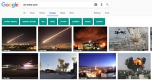 A Google image search for 'air strike syria' includes the fake image in the results.