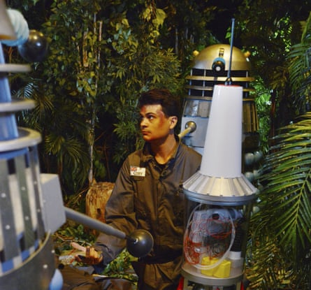 Marco Simioni is menaced by Daleks in this still from the recreated lost Doctor Who episode Mission To The Unknown.