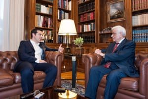 Greece's Prime Minister Alexis Tsipras meets with the President of The Hellenic Republic Prokopis Pavlopoulos .