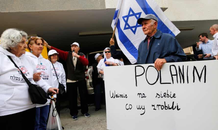 Holocaust survivors protest outside the Polish embassy in Tel Aviv, Israel