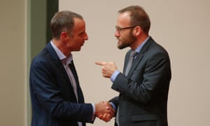 New Tasmanian Greens senator Nick McKim is congratulated by Adam Bandt after making his first speech in the senate chamber of Parliament House Canberra this afternoon, Wednesday 9th September 2015.